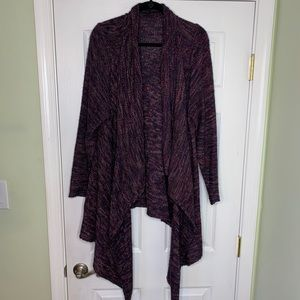 Mixed knit purple duster